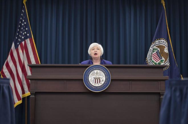La presidenta de la Fed, Janet Yellen, en la rueda de prensa que dio en diciembre del pasado año donde anunció la primera subida de tipos desde la crisis..