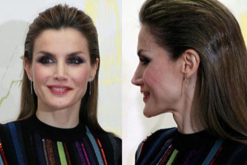 Detalle del pelo y maquillaje lucido por la Reina Letizia.