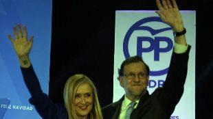 Cristina Cifuentes y Mariano Rajoy, el miércoles por la noche, en la...