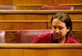 Irene Montero y Pablo Iglesias, ayer, en el Congreso de los Diputados.