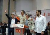 Dirigentes del PSOE de Cáceres, con Fernández Vara y Eduardo Madina.