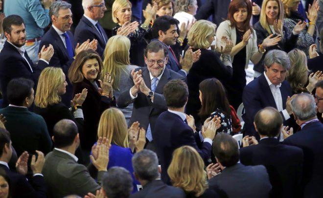 Rajoy, el miércoles por la noche, en la cena navideña del PP de...