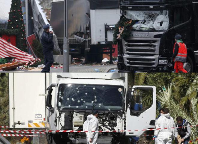 Arriba, el camión de Berlín. Abajo, el de Niza.