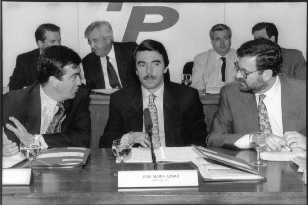 José María Aznar preside una Junta Directiva del PP celebrada en...