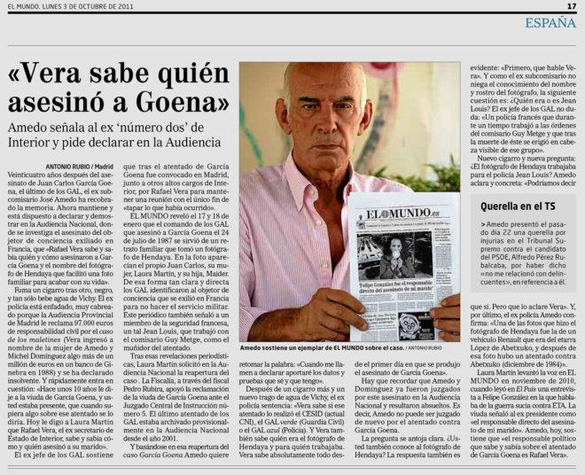 Páginas de EL MUNDO con revelaciones de José Amedo sobre los GAL.