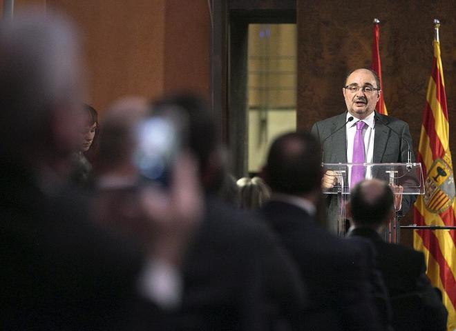 El presidente de Aragón Javier Lambán interviene en un acto de la...