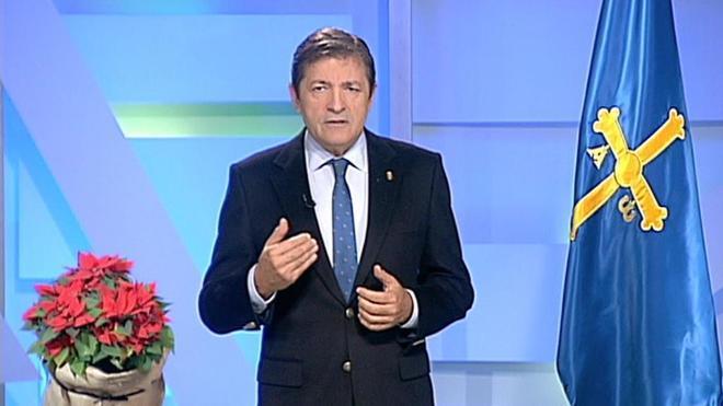 Javier Fernández, durante su discurso de fin de año.