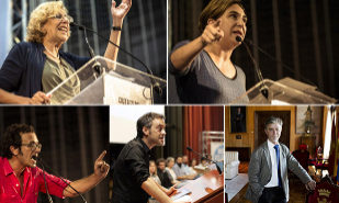 De izquierda a derecha, y de arriba a abajo, los alcaldes Manuela...