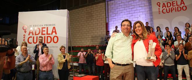El presidente de la Junta de Extremadura, Fernández Vara y la presidenta andaluza, Susana Díaz.