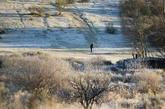 Un hombre juega al golf en un campo cubierto por la escarcha en...