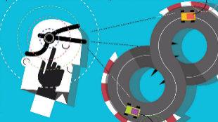La ilustración muestra un Scalextric controlado mediante un auricular...