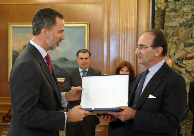 Felipe VI durante la entrega del XXVI Premio FIES de Periodismo, hoy,...