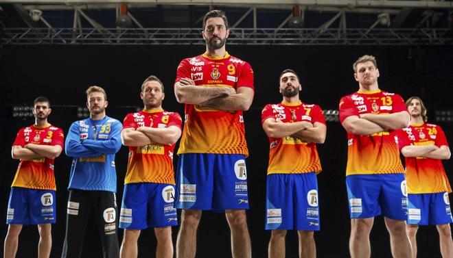 Integrantes de la selección española de balonmano, en la grabación de un spot.