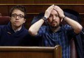 Íñigo Errejón y Pablo Iglesias, en el Congreso de los Diputados.