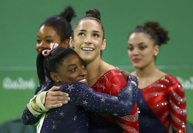 El equipo de gimnasia de Estados Unidos durante los Juegos de Río 2016.