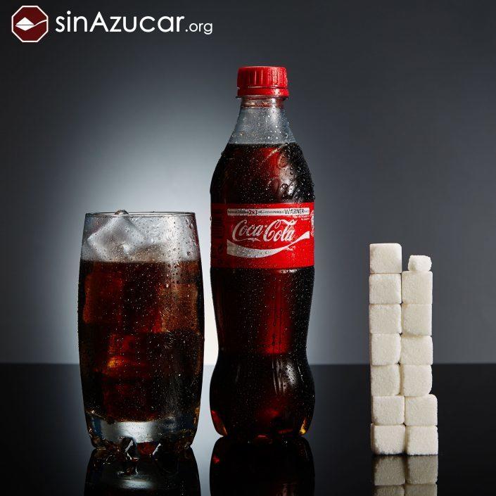 Una botella de 500 ml. de Coca-Cola contiene 53 gr. de azúcar, lo que...