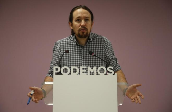Pablo Iglesias, líder de Podemos, en rueda de prensa el pasado...