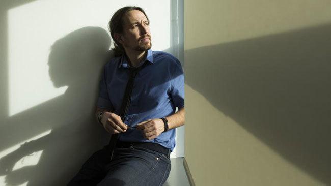 Pablo Iglesias, en el Congreso, durante la entrevista concedida a EL...
