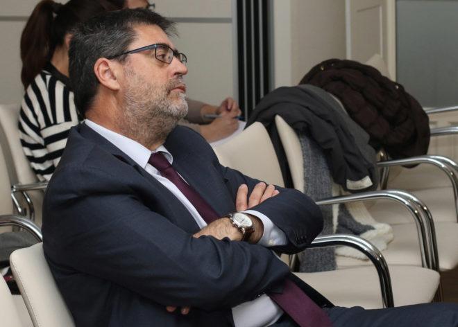 El presidente de la Cámara de Cuentas, durante el coloquio.