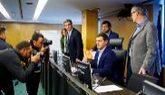 Albert Rivera, ayer, antes de intervenir en el Congreso en la reunión...