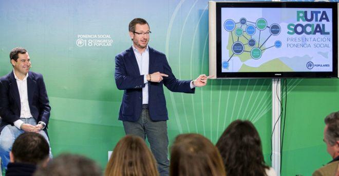 El vicesecretario del PP Javier Maroto, presentando la ponencia social...