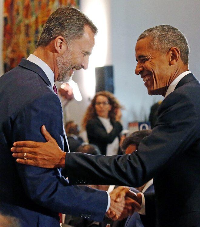 El Rey Felipe saluda a Obama en un viaje realizado a la ONU en...