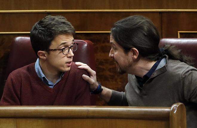 Pablo Iglesias e Íñigo Errejón, esta tarde en el Congreso de los...