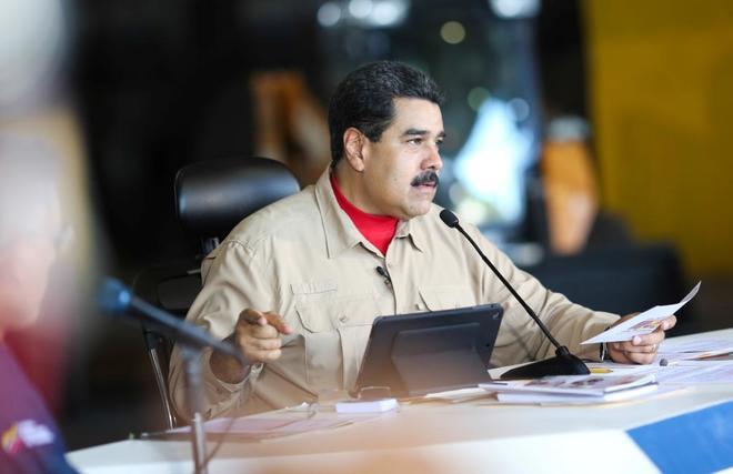 El presidente de Venezuela, Nicolas Maduro, durante un discurso en Puerto Ordaz (Venezuela).