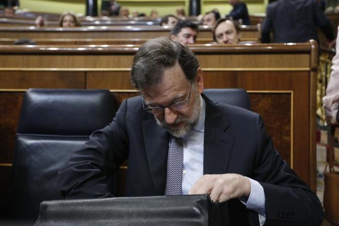 Mariano Rajoy, ayer, durante la sesión de control al Gobierno, la...