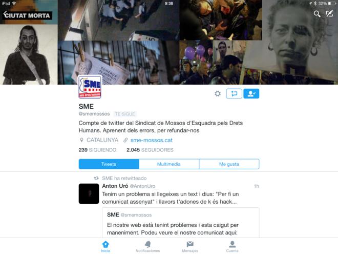 Cuenta de Twitter del sindicato dels Mossos d'Esquadra (SME).