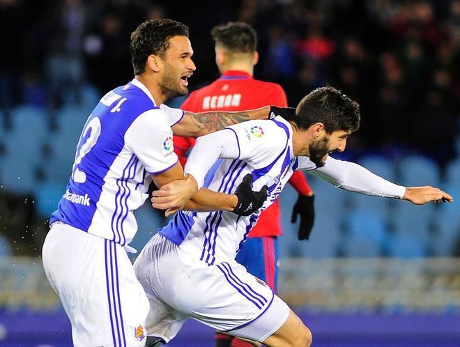 Raul Navas, celebrando el gol del empate ante Osasuna.