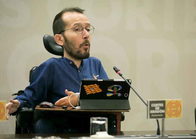 Pablo Echenique, en rueda de prensa en Zaragoza.