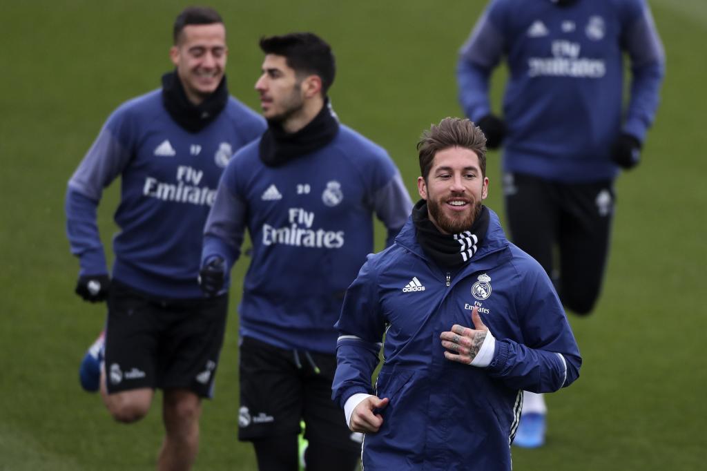 Ramos, Asensio y Lucas Vázquez, en el entrenamiento previo al partido contra Osasuna.