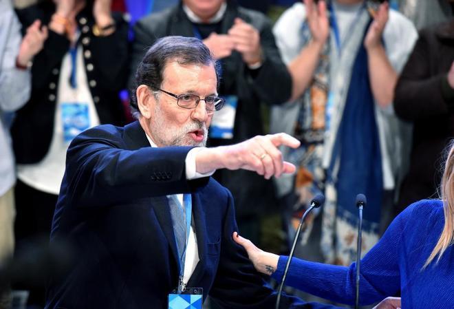 Mariano Rajoy, tras ser elegido presidente del PP por cuarta vez.