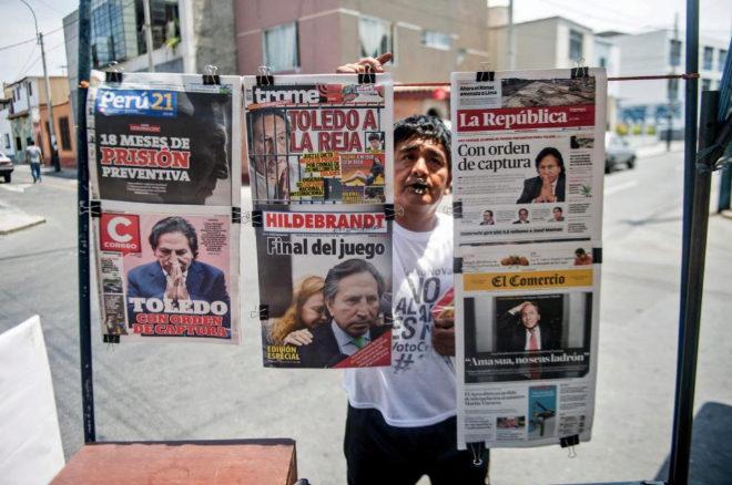 Alejandro Toledo, en primera plana de los principales diarios de Lima.