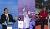 Mariano Rajoy, Pablo Iglesias y Susana Díaz durante sus...