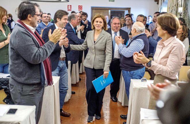 Cospedal, ayer, en la reunión de la Junta Directiva Regional del PP...