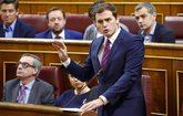 El líder de Ciudadanos, Albert Rivera, durante su intervención en el...