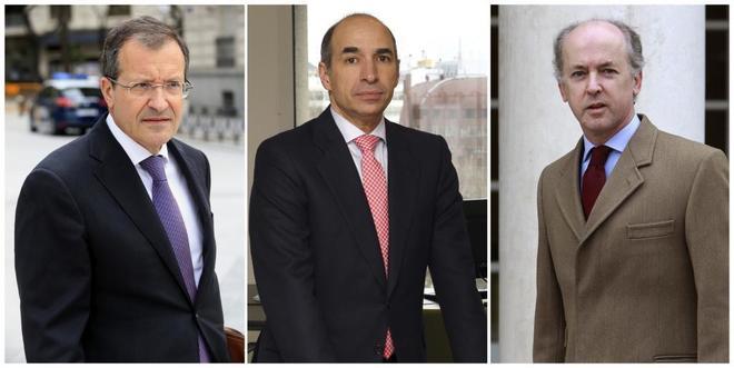 De izquierda a derecha: el presidente de Abengoa, Antonio Fornieles; el ex consejero delegado Manuel Sánchez Ortega, y el ex presidente de la compañía Felipe Benjumea.