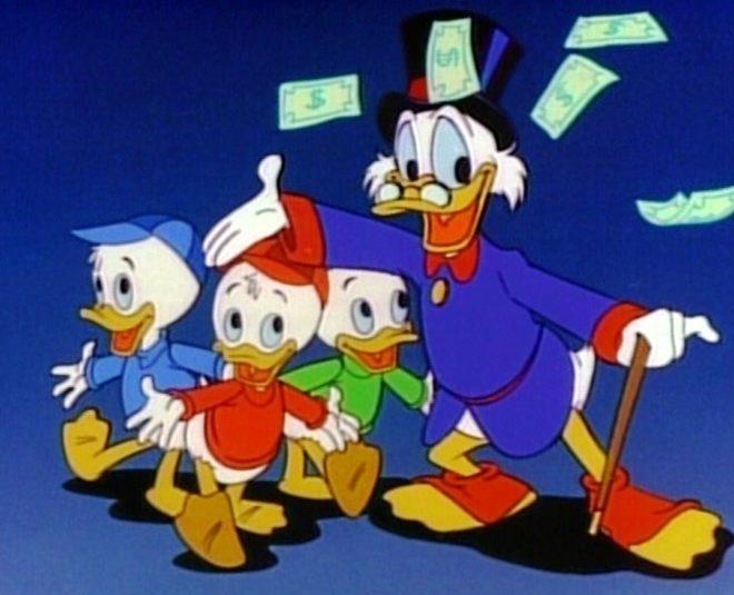El tío Gilito con sus sobrinos Jorgito, Jaimito y Juanito