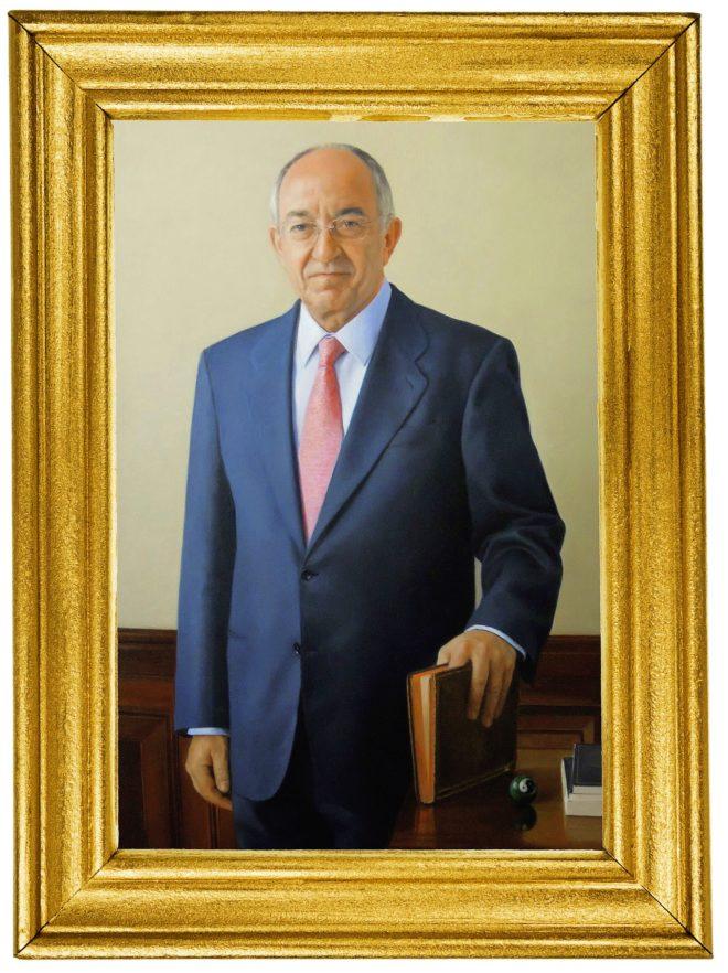 El cuadro al óleo de Miguel Ángel Fernández Ordóñez, pintado por Juan Moreno Aguado, que cuelga de una pared en la planta noble del Banco de España.