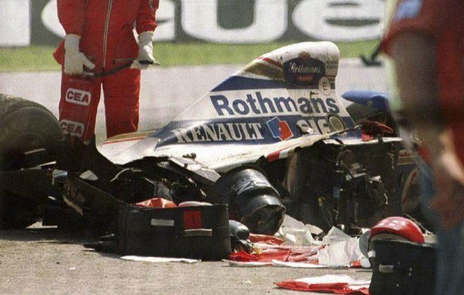 El choque de Ayrton Senna, tras el accidente mortal de Ímola en 1994.