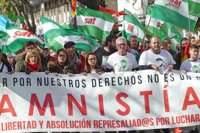 Protesta, con Diego Cañamero a la cabeza, para exigir la libertad de Bódalo.