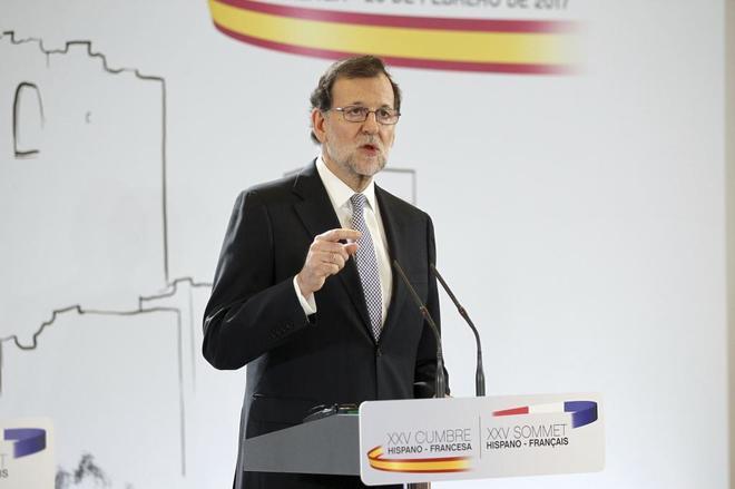 Mariano Rajoy, el lunes en Málaga en la rueda de prensa tras la...
