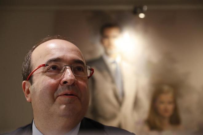 Miquel Iceta, durante su intervención en los desayunos informativos...