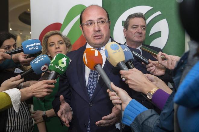 Pedro Antonio Sánchez, el lunes, en un acto sobre productos...