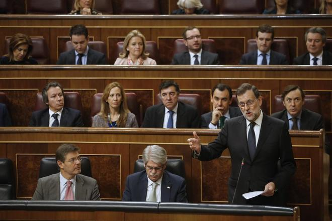 Rajoy interviene en la sesión de control al Gobierno de hoy.