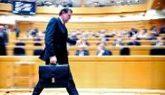Mariano Rajoy, ayer, tras terminar su intervención en la sesión de...
