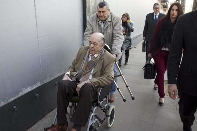 Felix Millet llegando a la Audiencia para declarar sobre el caso Hotel del Palau de la Música, en 2014