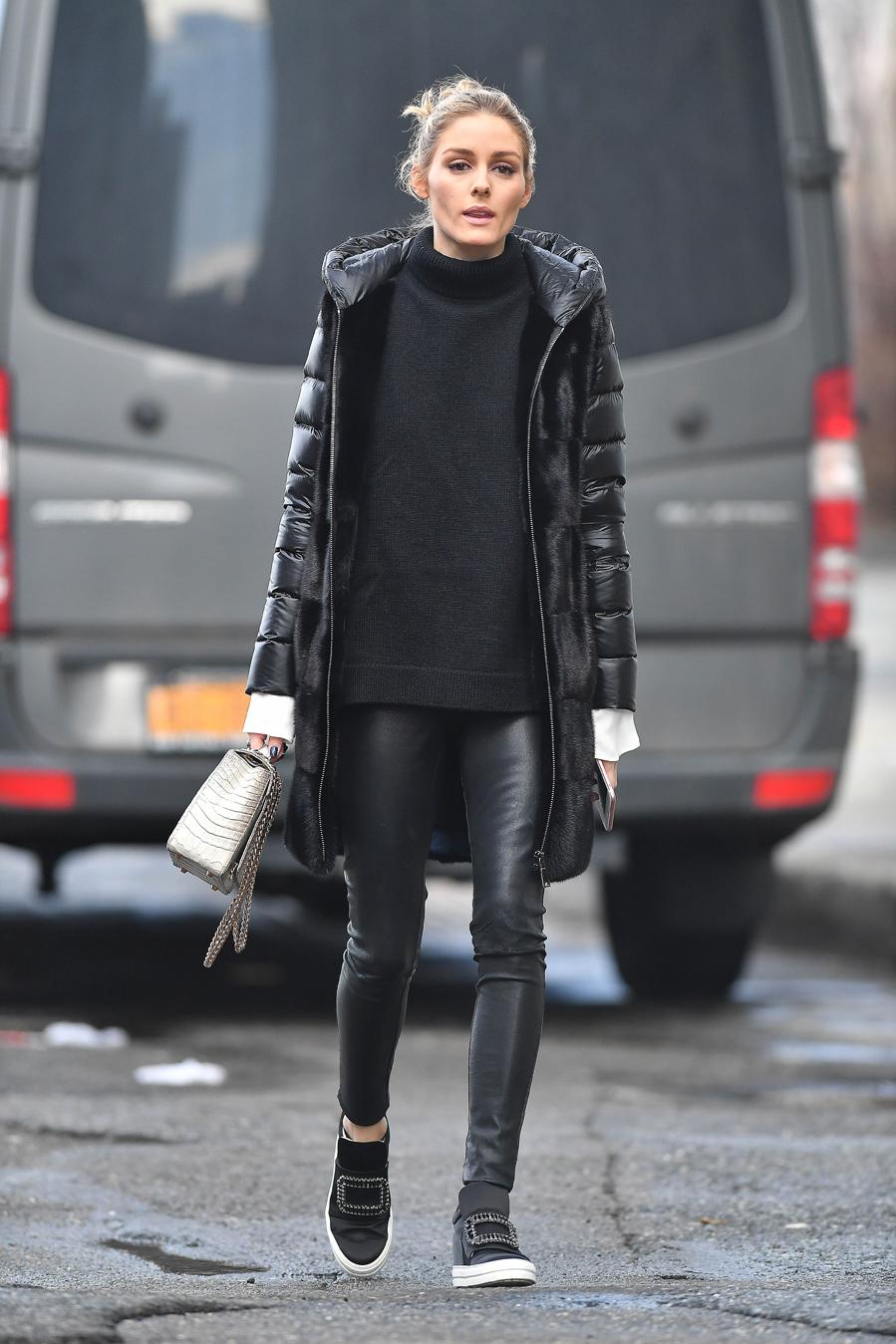 Olivia palermo con abrigo de piel